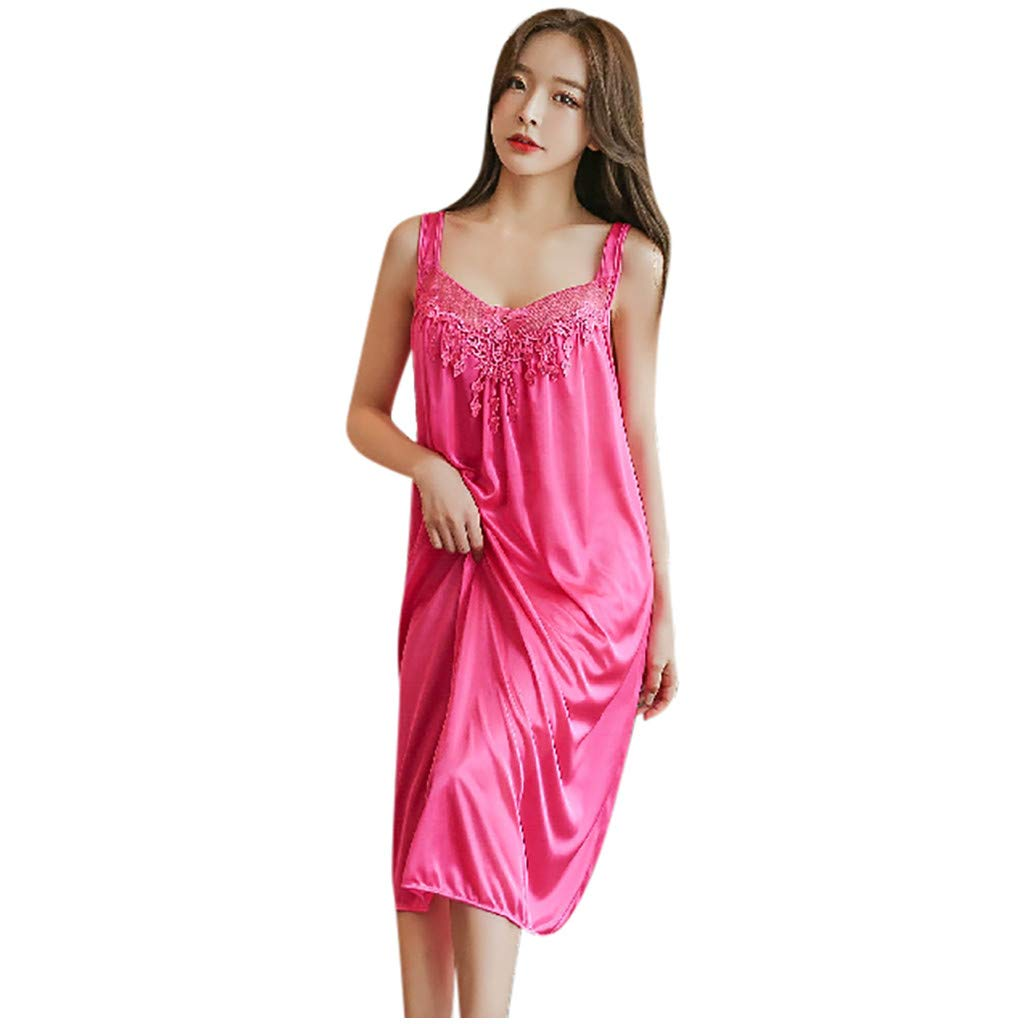 Sexy Fashion Women V-Neck Casual Sleeveless Camis Nightgown Solid Dress Women Intimates Women Intimates