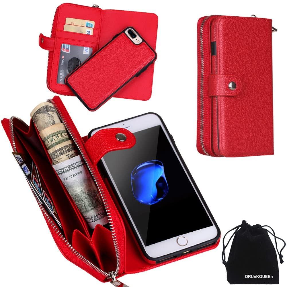 iPhone 8 Plus Case, iPhone 7 Plus Case, Zipper Wallet Type Flip Folio Premium Leather Credit Card Holder Case with Wrist Strap - Detachable Magnetic Back Cover for iPhone 7Plus / iPhone 8Plus