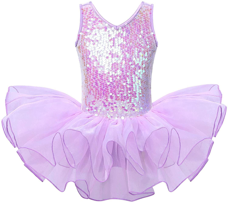 YUUMIN Kids Girls Halloween Dance Costume Sequins Sleeveless Gymnastics Leotard Ballet Tutu Dress