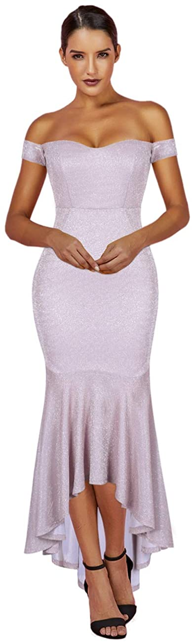 whoinshop Women's Sparkly Off Shoulder Elegant Slim Fishtail Cocktail Evening Party Dress Maxi
