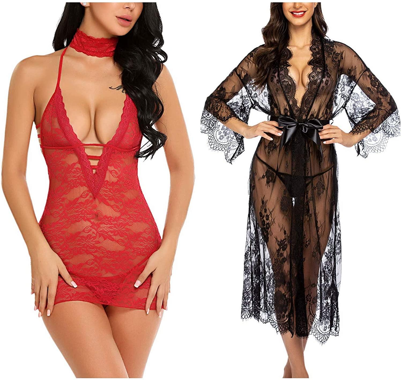 Avidlove Women Babydoll Lingerie (Dark Red,X-Large) and Women Long Kimono (Black,X-Large)