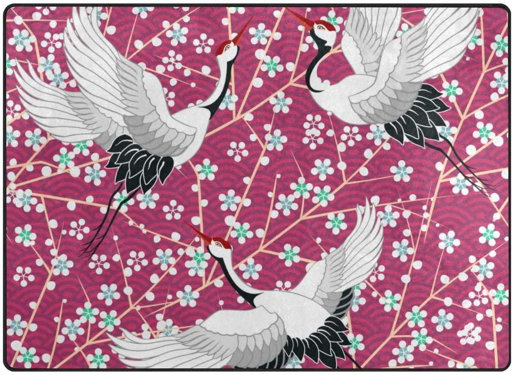 My Little Nest Area Rug Japanese Cherry Blossom Crane Lightweight Non-Slip Soft Mat 4'10