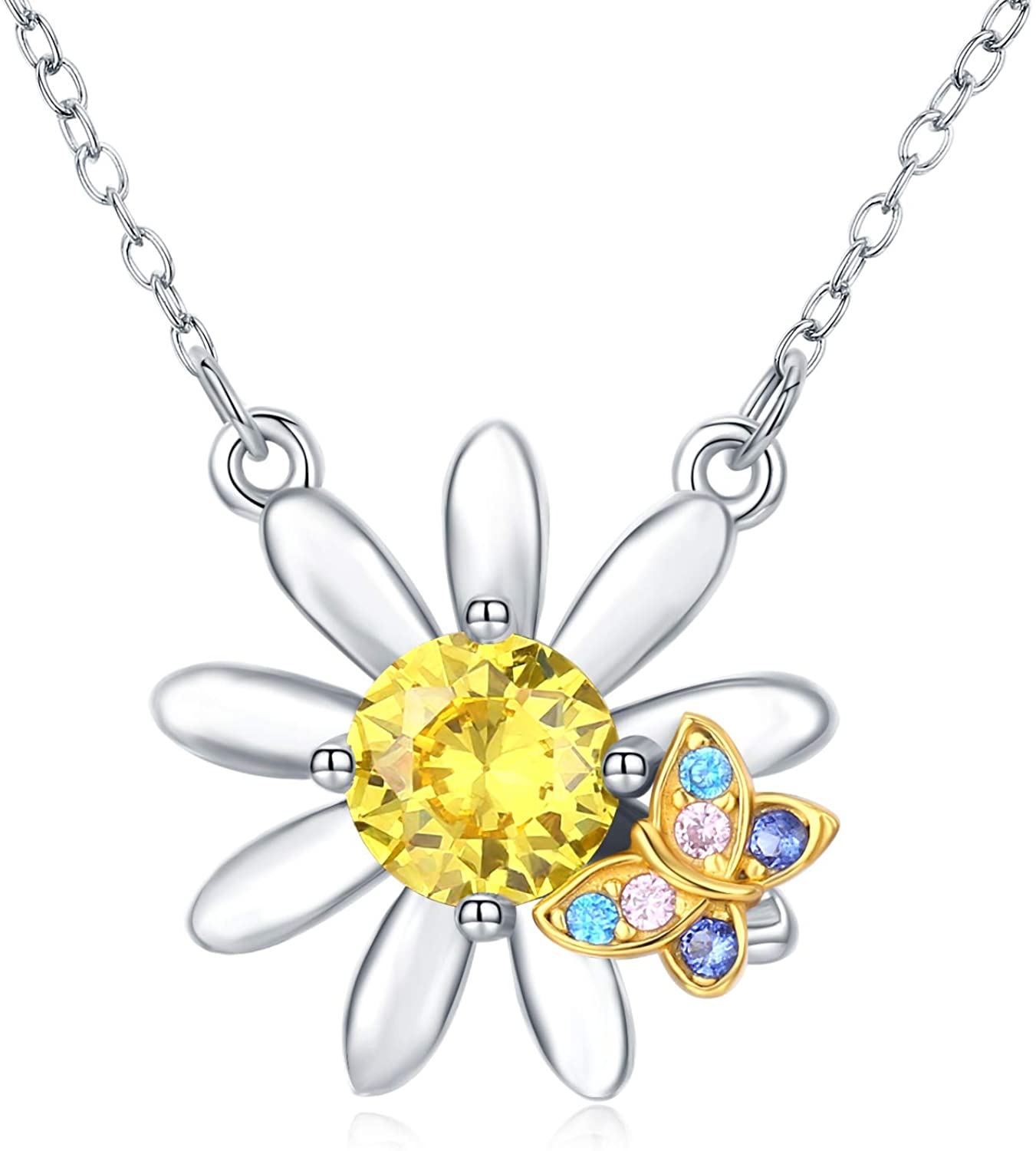 TRISHULA Sunflower Necklace Sterling Silver You are My Sunshine Butterfly Necklace Sun Flower Daisy Jewelry Gifts for Women Mom Girlfriends
