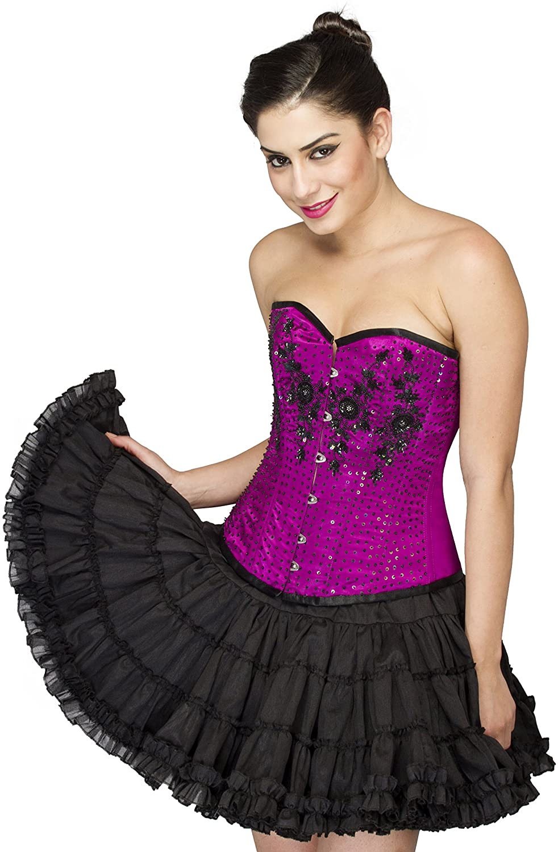 CorsetsNmore Purple Satin Black Sequin Goth Burlesque Overbust Cotton Silk Skirt Corset Dress