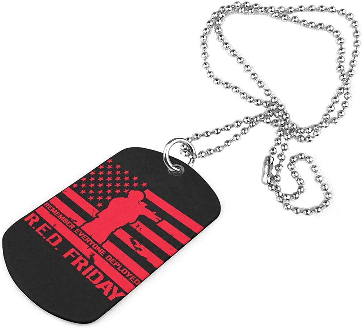 R.E.D. Friday Military Necklace Pendant Jewelry Army Card Dog Tags Keyring