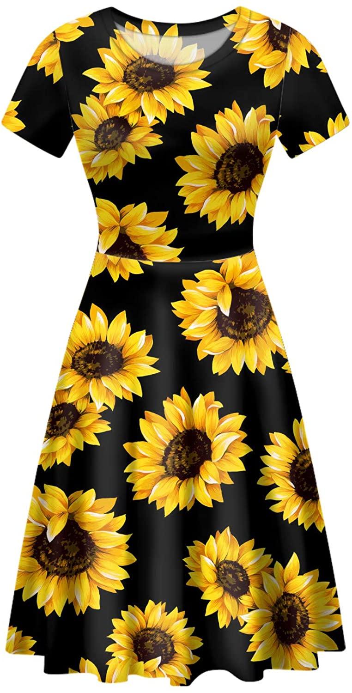 JoyLamoria Womens Fashion Printed Short Sleeve Crewneck A-line Midi Flared Party Dress