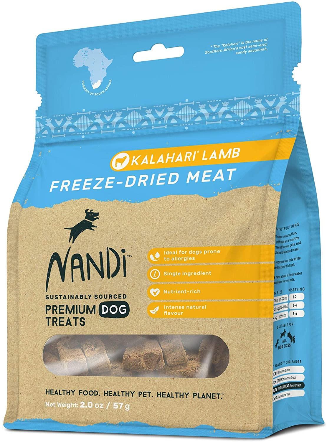 Nandi All-Natural South African Freeze-Dried Dog Treats, 2.0 oz | Single Ingredient, 100 Percent Premium Organ Meat, Grain Free, Sustainably Sourced, Nutrient Rich