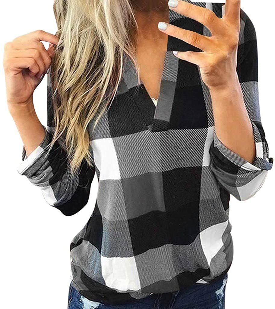 TUZEDON Women Long Sleeve Flannel Plaid Shirt Pullover Sexy V Neck Tops Casual Loose Boyfriend Tunic Slim T Shirts Blouses