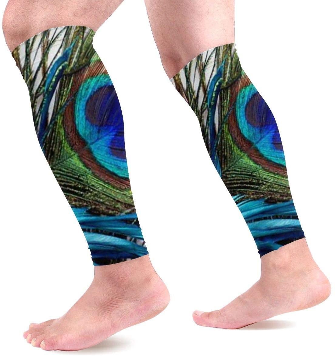 Calf Leg Compression Sleeve for Unisex Peacock Feathers Shin Splints Calf Guard Arm Home Cover