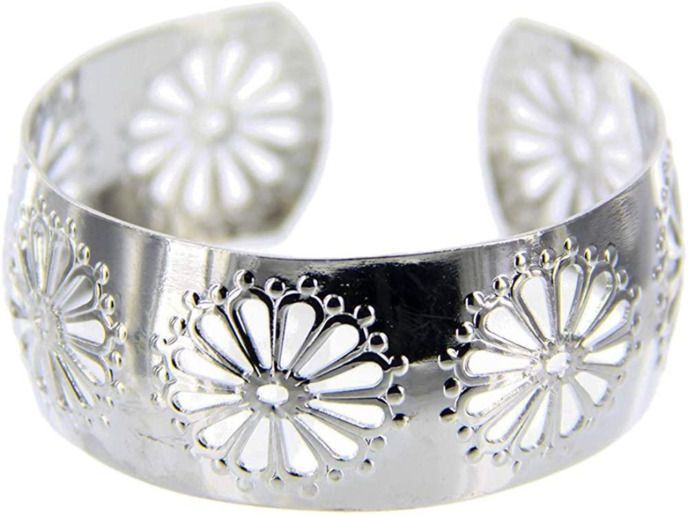 Charming Charlie Women's Flower Cutout Large Cuff Bracelet - Adjustable and Hypoallergenic - Silver
