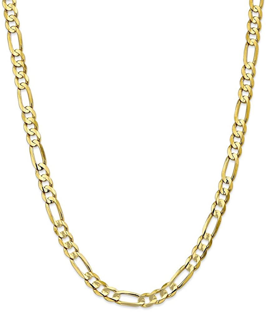 10k Yellow Gold 6.75mm Light Concave Figaro Chain Necklace 24inch for Men Women