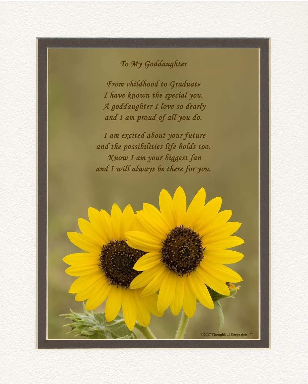 Goddaughter Graduation Gift, Sunflowers Photo with From Childhood to Graduate Poem, 8x10 Double Matted. Special Keepsake Graduation Gifts for Goddaughter, Unique College - High School Grad Gifts
