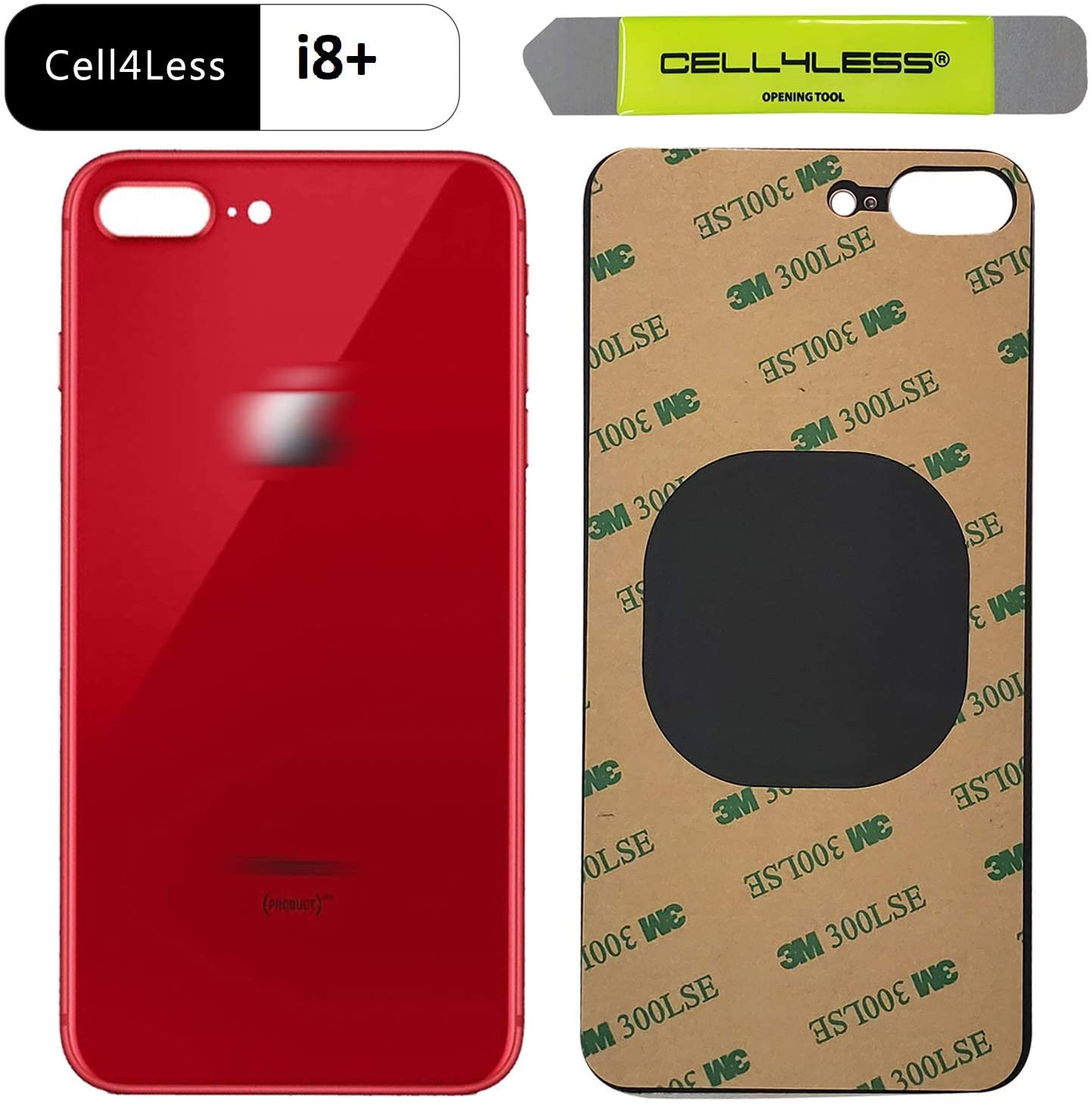 Cell4less Back Glass Compatible with The iPhone 8+ Plus W/Full Body Adhesive, Removal Tool, and Wide Camera Hole for Quicker Installation (Product Red)