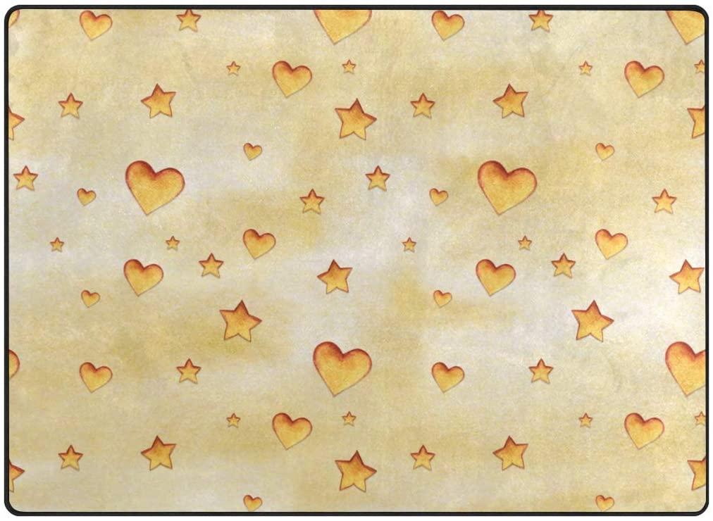 My Little Nest Area Rug Cute Watercolor Hearts Stars Lightweight Non-Slip Soft Mat 4'10