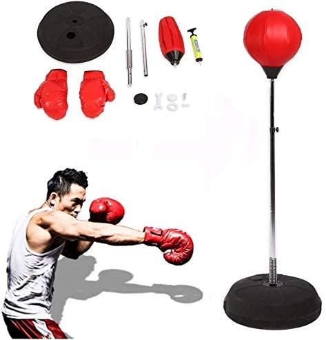 dfhh Speedball Boxing Ball Adult Boxing Training Equipment with Gloves and Adjustable Height Stand 120 – 150 cm Red