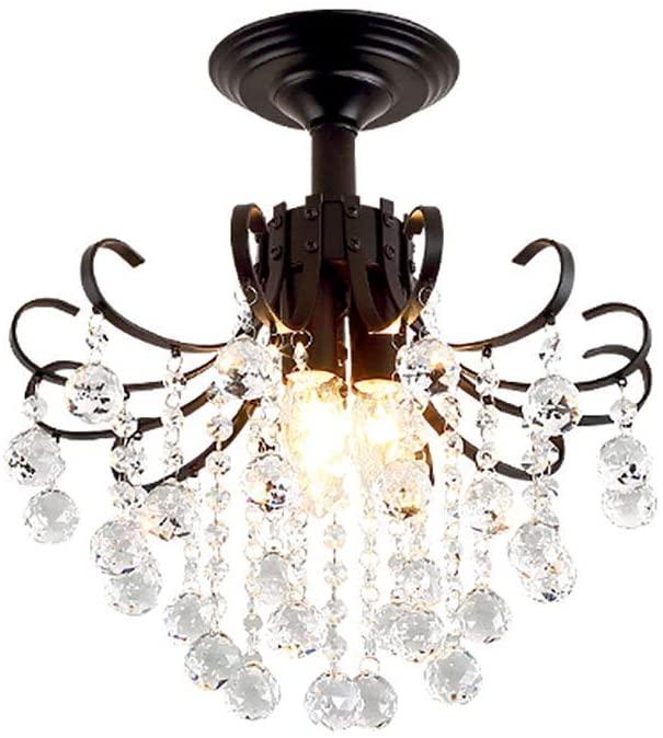 HLL Household Chandeliers,Elegant Mini American Chandelier,Luxury Crystal Pendant Light Modern Simple Ceiling Lamp for Bedroom Living Room Cloakroom Ceiling Light Black 33 40Cm(13 16Inch),Black