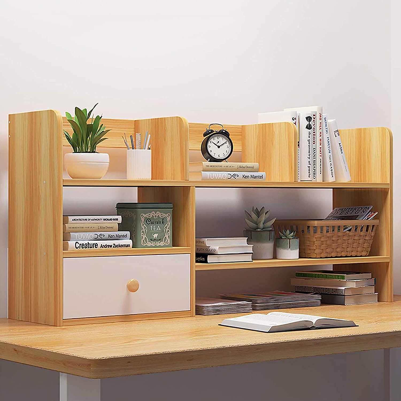 ZHUAN Desktop Organizer,Desk Wood Bookshelf Storage Rack Counter Top Bookcase with Drawer Display Shelf for Office Supplies