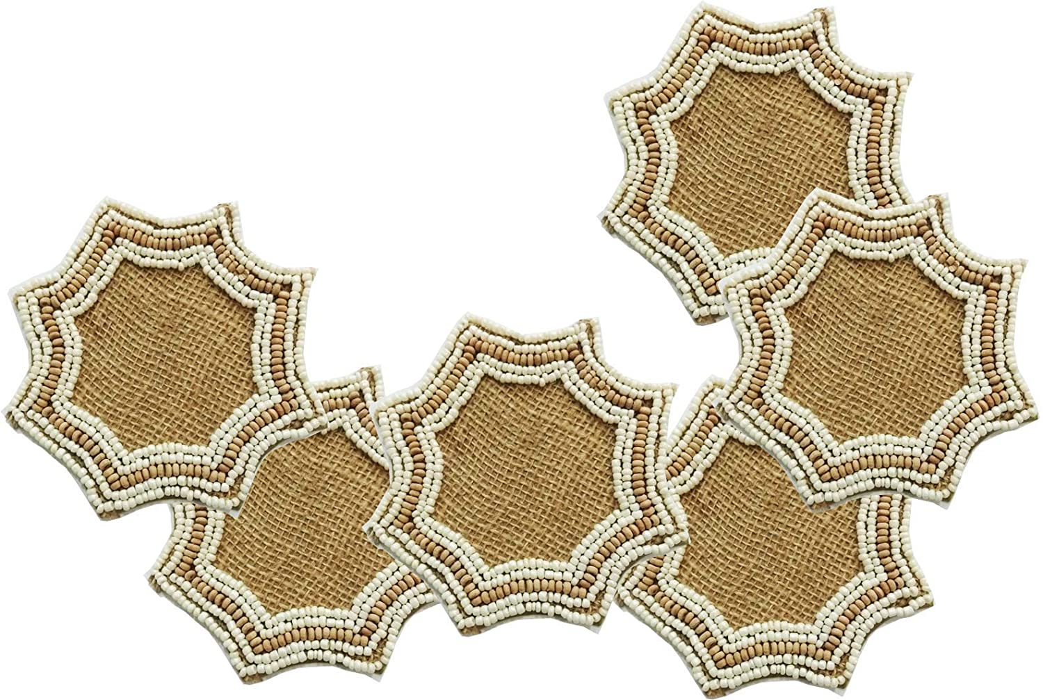 "POPULAR LIFE HOME Athena Jute Beaded Coaster | Hand Beaded Coasters with Satin Back, Decorative Dining Table Coasters, White & Wood, 4 x 4"" (Set of 6)"