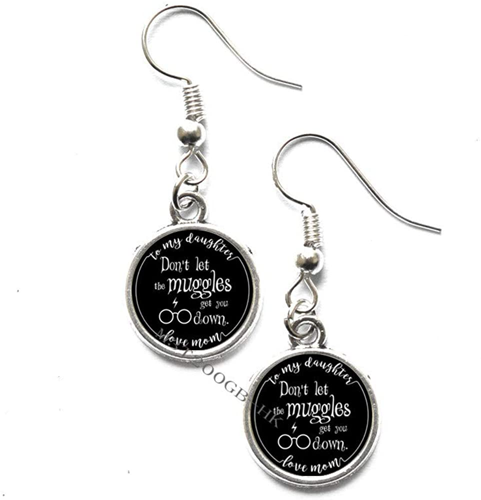 Botewo0lbei Glass Quote Charm Earrings to My Daughter do not let The Muggles get You Down Love mom Art Glass Cabochon Earrings Dangle Earrings-MT262