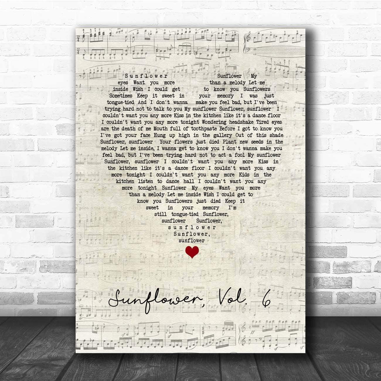 Sunflower, Vol. 6 Script Heart Song Lyric Print
