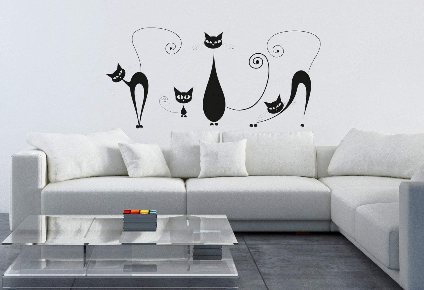 CECILIAPATER Cat Kitten Animal Wall Sticker Decal Room Kitchen House Mural Art Cats 9 pcs/Set Children Bedroom Nursery Wall Decoration PVC Sticker