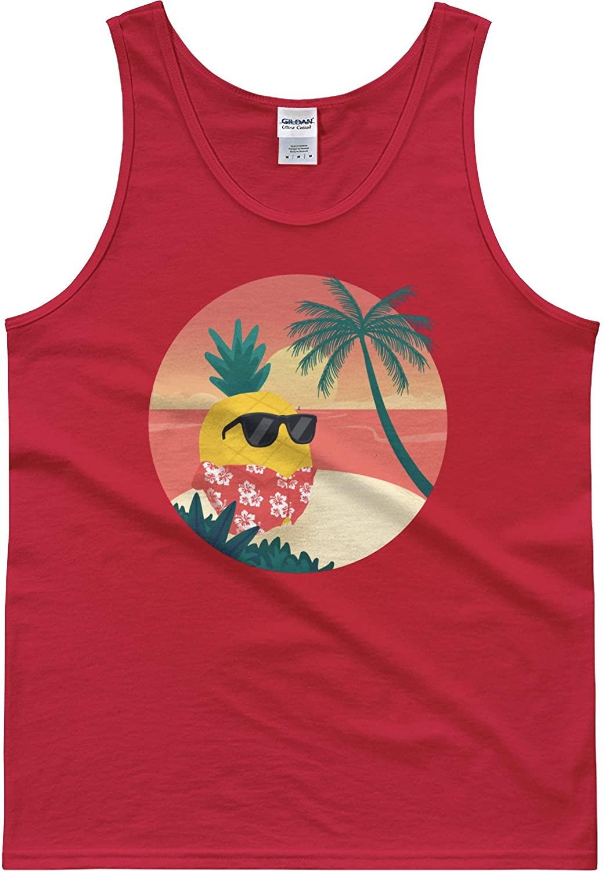 The Jazzy Panda Men's Pineapple Tank Top Shirt | Tropical Hawaiian Tee