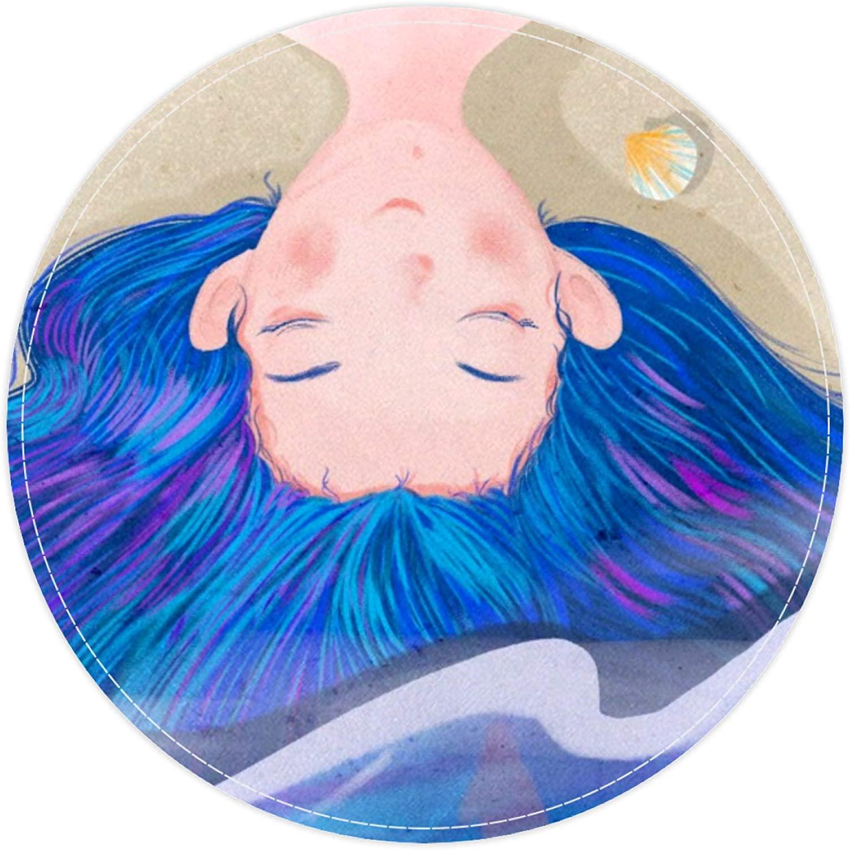 HEOEH Unique Girl Blue Hair Sea Shell, Non Slip Doormat 15.7