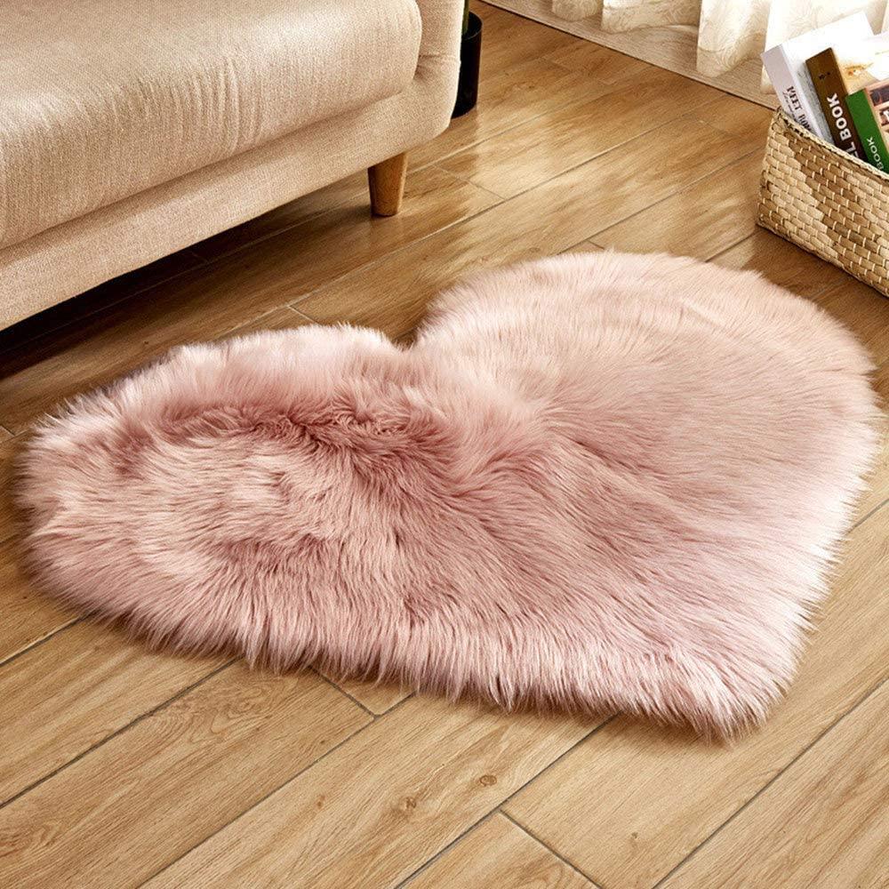 TokLask Imitation Wool Rugs Faux Fur Anti-Slip Bedroom Heart Shape Plush Carpet Living Room Mats
