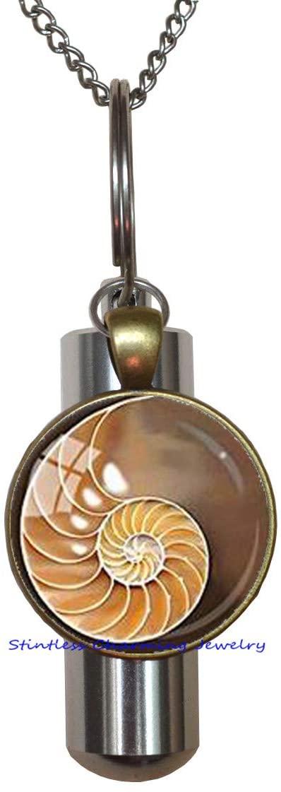 FibonacciSpiralURNChamberedNautilusCremation URN NecklaceSacredGeometryJewelryBrownYellowShellCremation URN NecklaceShellJewelryFibonacciJewelry-JP196