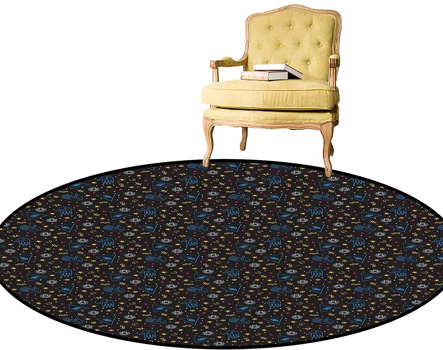 Area Rug Alchemy Mystic Eye Triangles Palms Moons Stars Astrology Symbols Lines Stylish Rug Super Soft, Easy to Sweep/Vacuum Seal Brown Multicolor Diameter - 4 Feet
