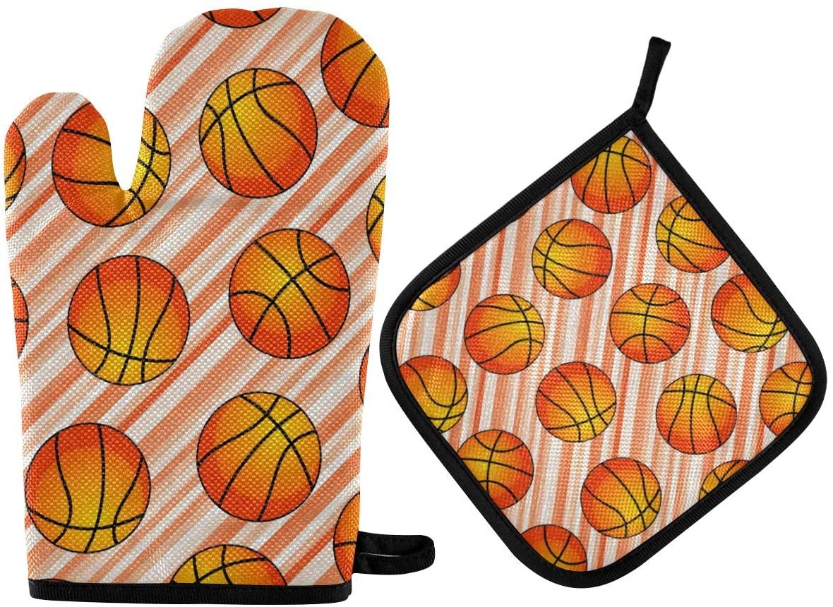 DOMIKING Oven Mitts Pot Holder Sets - Basket Balls Hot Gloves Heat Resistant Hot Pads Non-Slip Potholders for Kitchen Cooking Baking BBQ