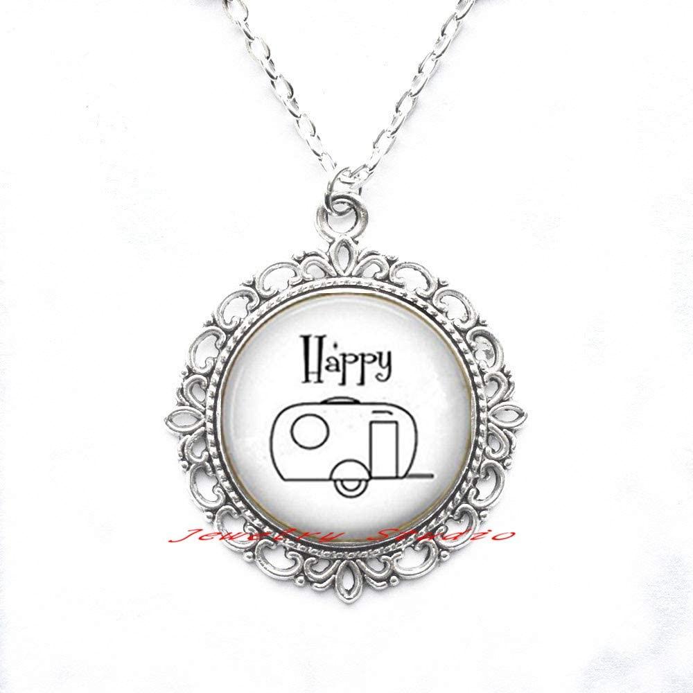 Pendant Necklace Happy Camper Retro Trailer Pendant - Happy Camper Necklace - Love to Camp - Camp - Camper Trailer Necklace - Camp Jewelry-HZ0039