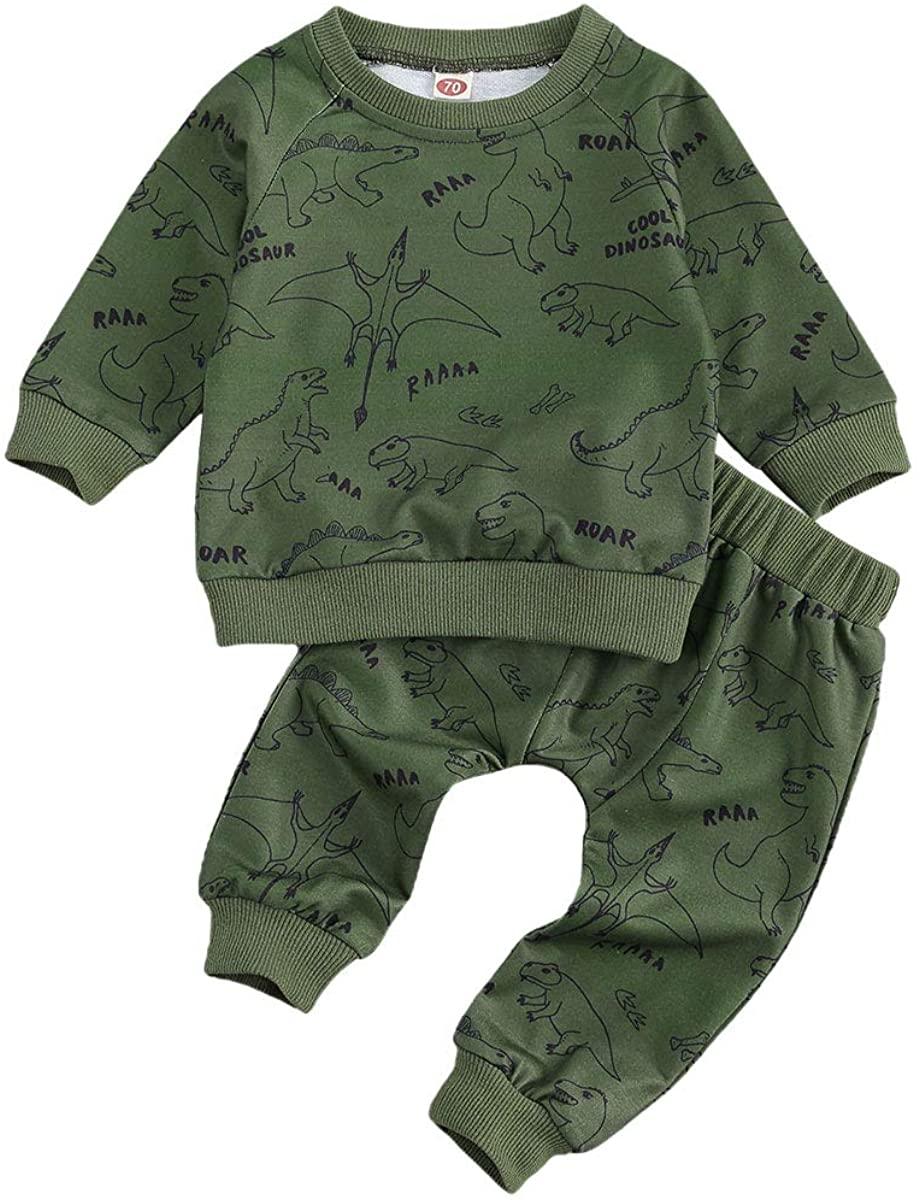 Toddler Boys Outfits Long Sleeve Sweatshirts Dinosaur Print Shirts Legging Pants 2PCS Fall Winter Pants Set 0-24M