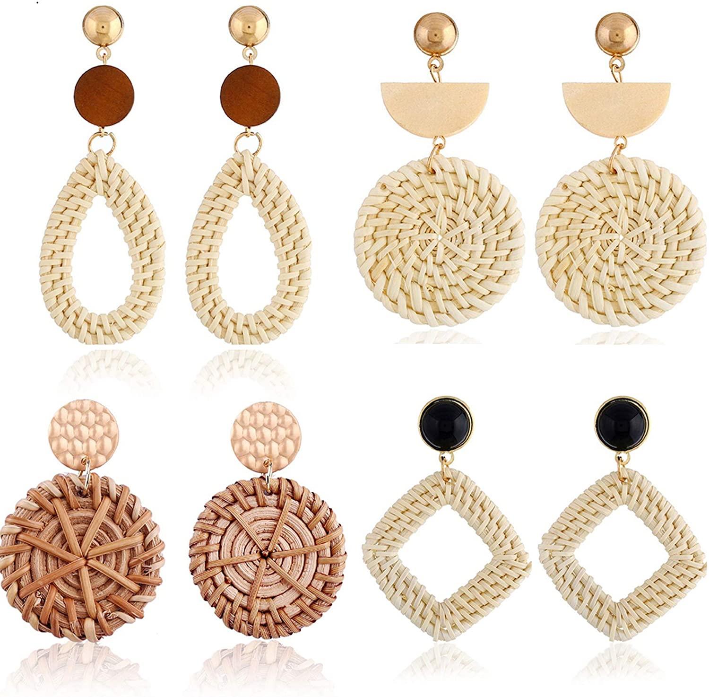 Rattan Earrings for Women Girls Handmade Lightweight Wicker Straw Stud Woven Bohemian Earrings Geometric Statement Weaving Braid Hoop Drop Dangle Earring 4 Pairs