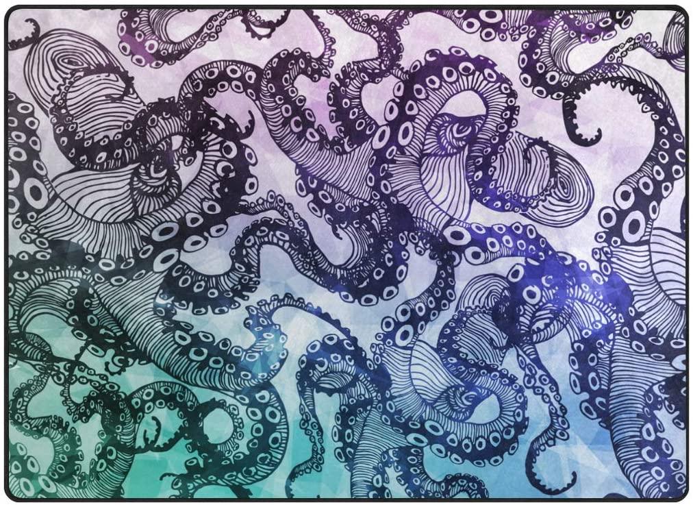 My Little Nest Area Rug Abstract Octopus Lightweight Non-Slip Soft Mat 4'10