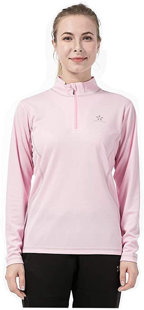 ZZEWINTRAVELER Women's Long Sleeve Sport T-Shirt.Half-Zipper Pullover Quick Dry T-Shirt.Outdoor Sports and Cycling T-Shirt