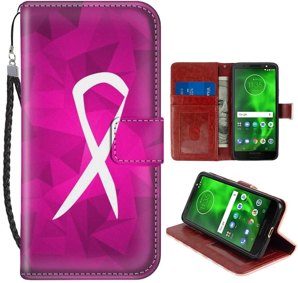 SoLucky Moto G6 Wallet Case Breast Cancer Sign PU Leather with Kickstand and Card Slots Wrist Strap Flip Case for Moto G6 1 Pack
