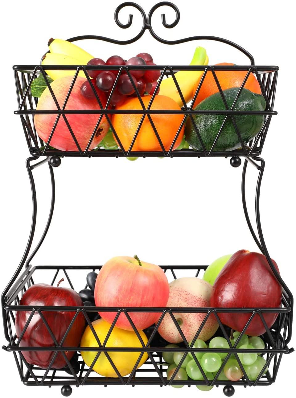 IZLIF 2-Tier Fruit Basket Metal Fruit Bowl Bread Baskets Detachable Fruit Holder kitchen Storage Baskets Stand - Screws Free Design for Fruits Breads Vegetables Snacks