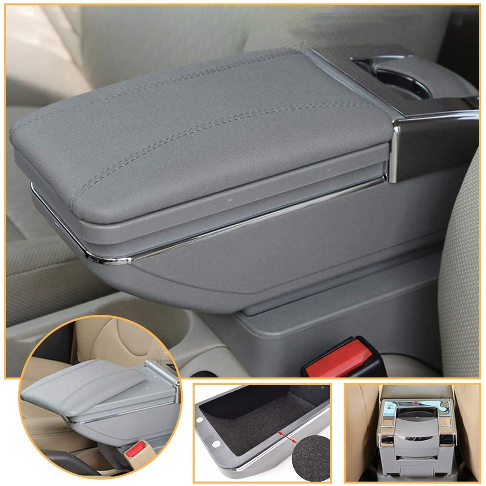 Muchkey car Center Console Cover for Honda BR-V 2015-2019 Single Layer, Relatively Thin PU Leather car armrest Cover, Gray