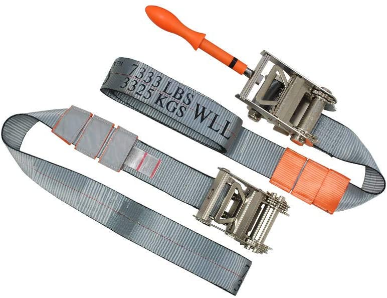 MFREXPRESS A Pair of 3'' Ratchet Underlift Straps Tie Down Straps Under Reach w/Removable Tool WLL 73333 LBS
