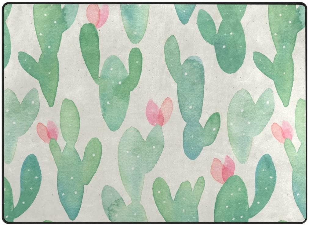 ABLINK Non-Slip Area Rugs Home Decor, Watercolor Hawaiian Cactus Flowers Durable Floor Mat Living Room Bedroom Carpets Doormats 63 x 48 inches