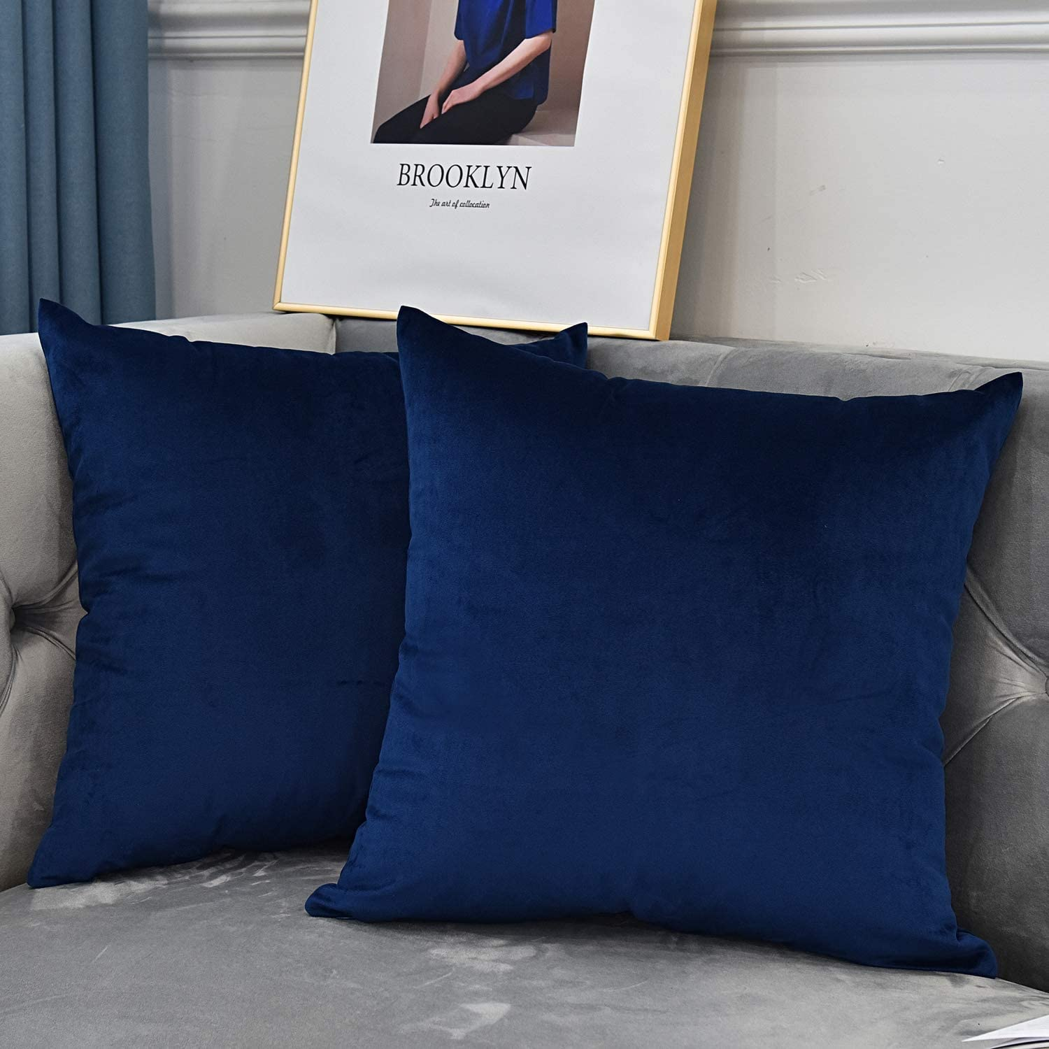 NianEr Velvet Square Throw Pillow Covers Set of 2 Soft Solid Fall Winter Decorative Couch Cushion Pillow Cases 16X16 Navy Blue