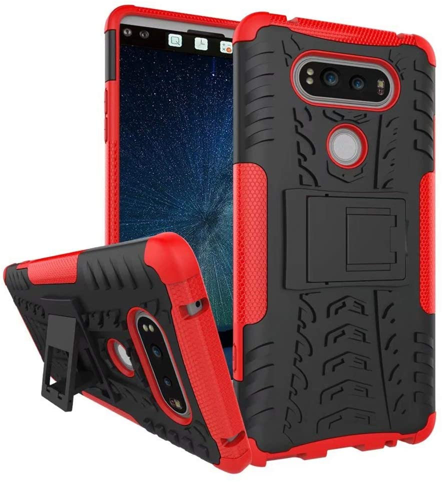 Smfu Case for LG G7/G7 ThinQ Case Hybrid Rugged Heavy Case Built-in Kickstand,with Screen Protector 2 Pack 360 Degree Bumper Dual Layer Rugged Full-Body Shockproof Non-Slip Case(Red)