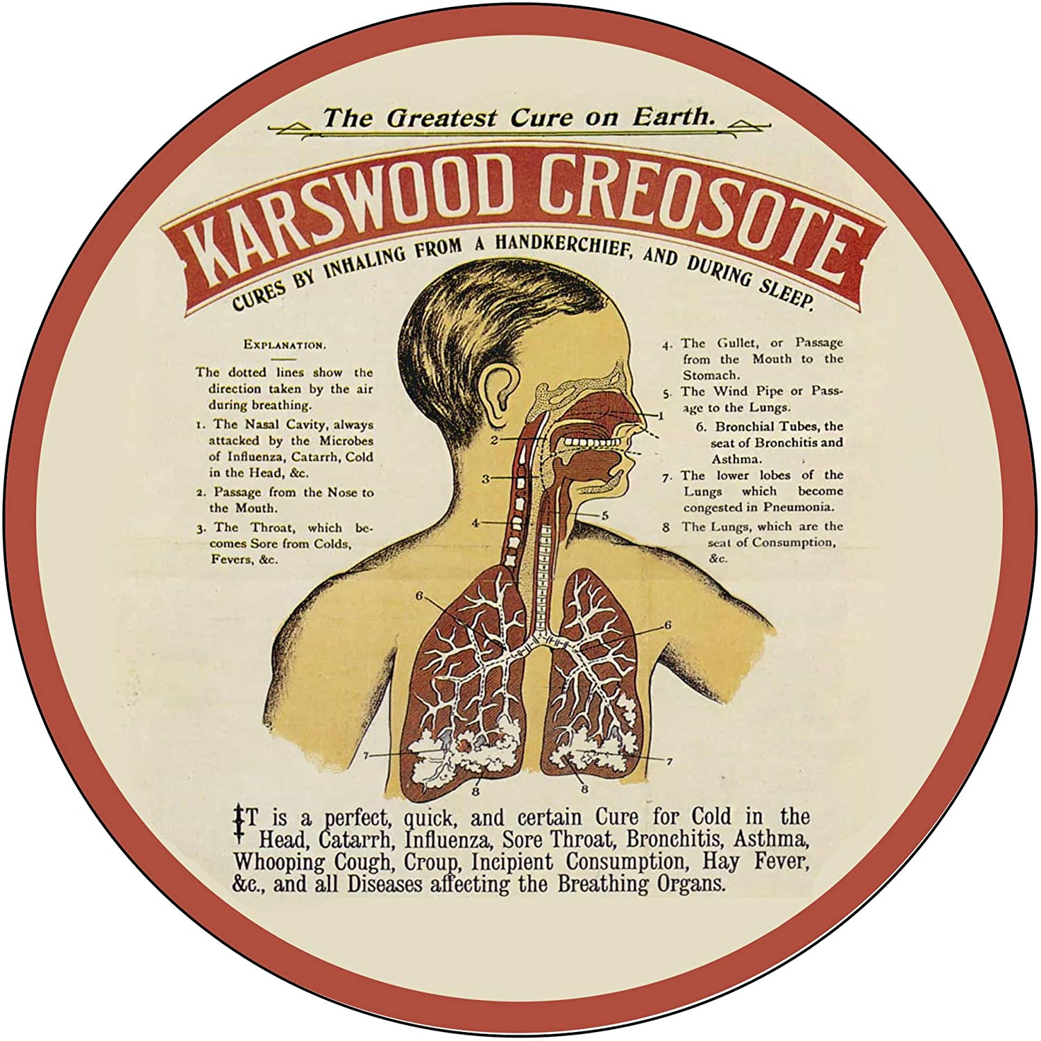 Brotherhood Vintage Gas Sign Reproduction Vintage Metal Signs Round Metal Tin Sign for Garage and Home 8 Inch Diameter – Karswood Creosote Cures by Inhaling Greatest Cure on Earth