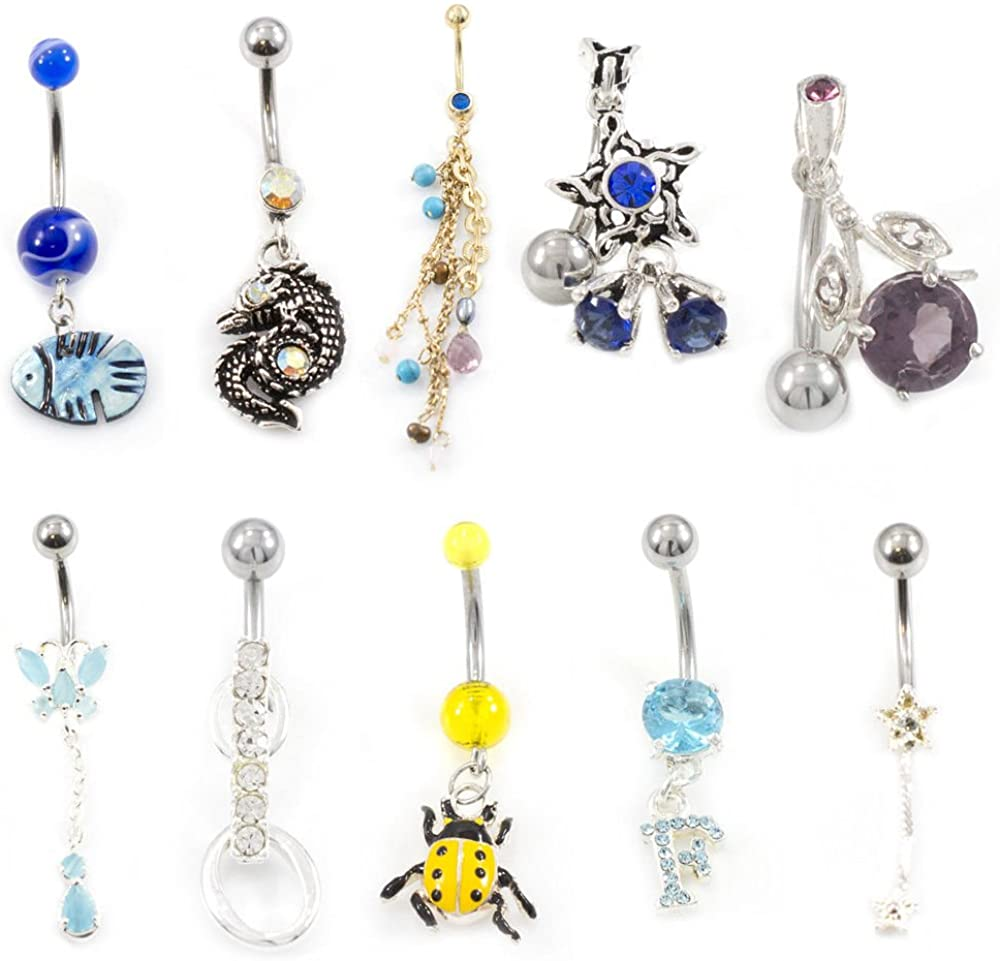 BodyJewelryOnline Belly Button Ring Fun Fest Pack of 10 Navel Rings with Unique Designs 14g