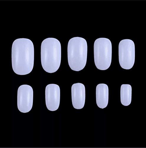 Fake Nails 1200pcs diy nail art 10 Sizes Fake Nails Short Oval Nails Round Nails Full Cover Artificial Glue On Nails Natural/Clear/White The acrylic nail (Oval White)