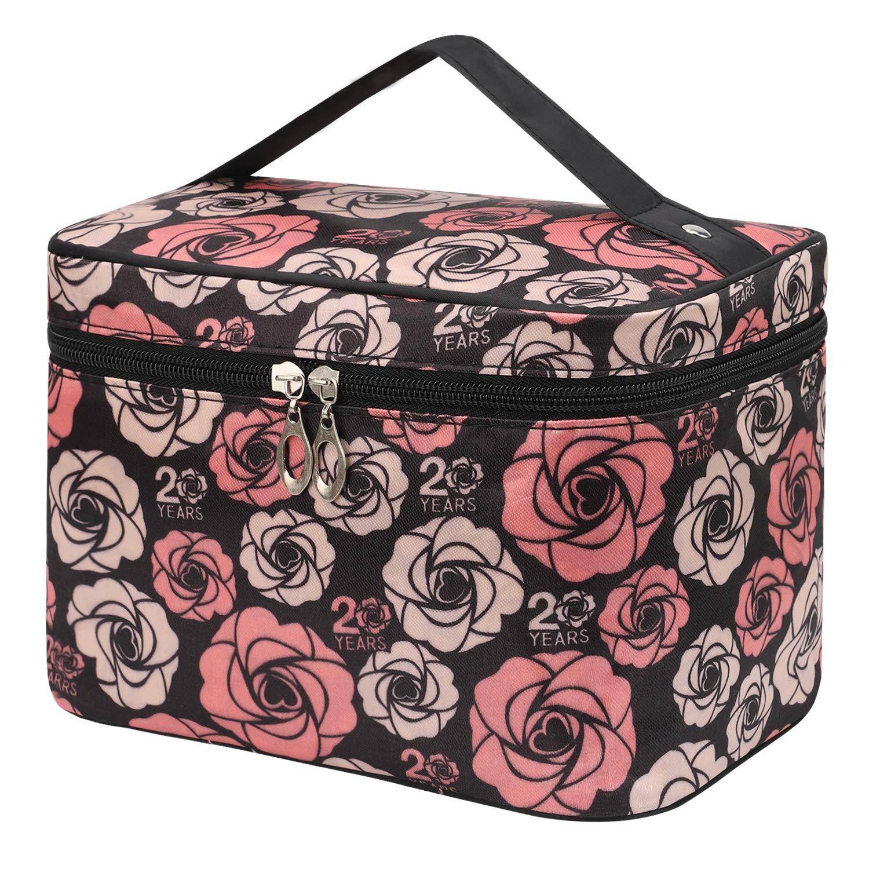 Shaui&Rulyn Women Portable Cosmetic Bag Cute Makeup Travel Case Multifunctional Make up Bag,Toiletry Bag Travel Bags for Women Girls (Rose Flowers)