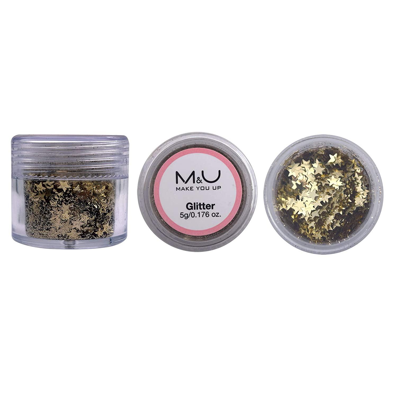 M&U Brilliant Confetti Glitter, Multi-Purpose Chunky Glitter Pot, Perfect for Body Tattoos, Hair, Makeup, Resin, Jewelry, DIY Crafts, Nail Art, Party Decoration-Gold Metallic Stars(5g Jar)