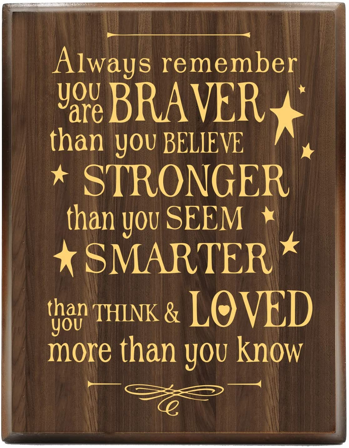 yuzi-n Always Remember You are Braver Than You Think - Inspirational Gifts Positive Engraved Gold Wood Plaque Gift for Birthday - Presents for Mom Sister Grandma