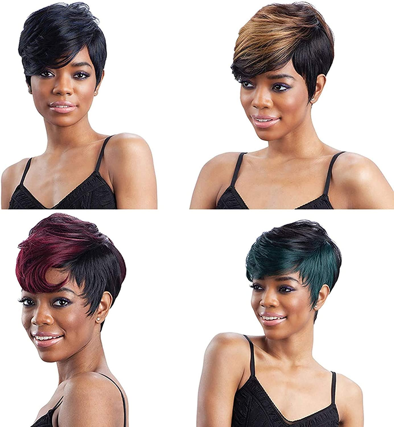 Short Wig Natural Looking Wigs Short Haircuts for Women Synthetic Short Wigs for Black/White Women (black+gold) (black+gold)